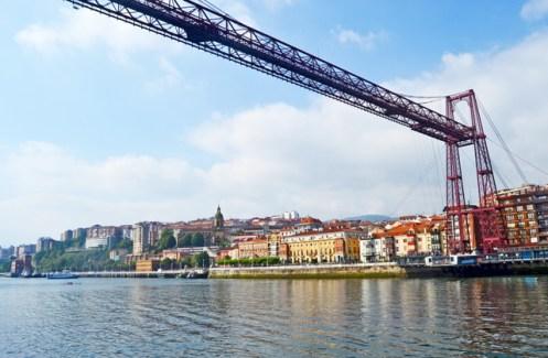Panorámica Portugalete debajo Puente de Bizkaia País Vasco