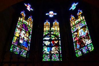 Detalle interior vidrieras Catedral Buen Pastor Donostia San Sebastián País Vasco