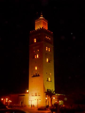 Foto noche Koutoubia iluminada Marrakech