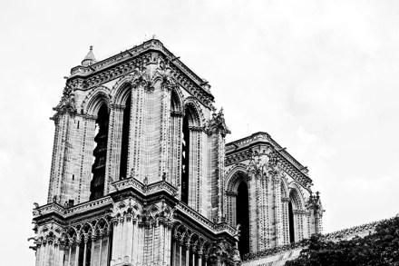 Vista trasera torres Catedral Notre Dame París blanco y negro