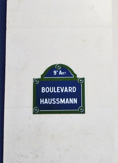 Placa calle Boulevard Haussmann 9º Arr París