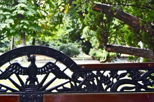 Decoración hierro pájaro bancos Parcul Cismigiu Bucarest
