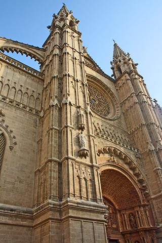 Fachada gótica roteón seu Palma Mallorca