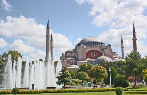 Vistas jardines fuente Mezquita Santa Sofía Estambul