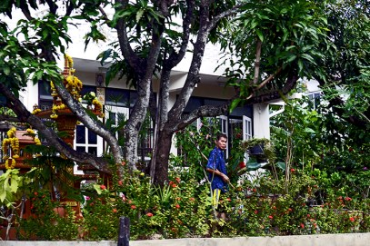 Vecino jardín klongs Bangkok