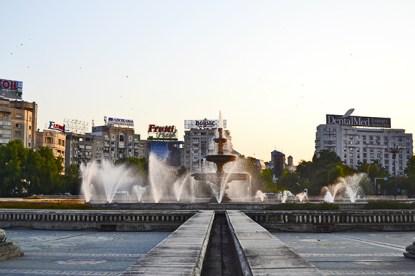 Fuentes plaza Unirii Bucarest