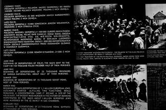 Paneles explicativos judíos Campo concentración Auschwitz Polonia