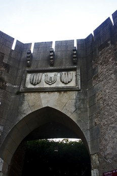 Entrada puerta principal escudos Castillo Xàtiva