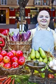 Ninot vendedor drutas verduras belén Navidad Xàtiva