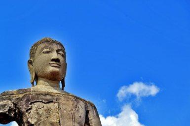 Rostro buda sonriente cielo Ayutthaya