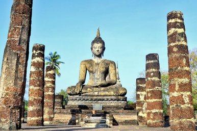 Bot buda sentado chedi Sukhothai