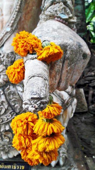 Dedo flor amarilla enrollada escultura piedra buda templo Chiang Mai