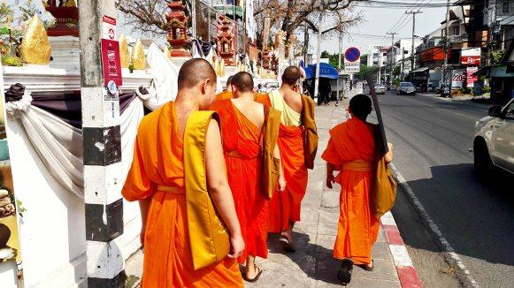 Grupoo monjes budistas túnica naranja calles Chiang Mai