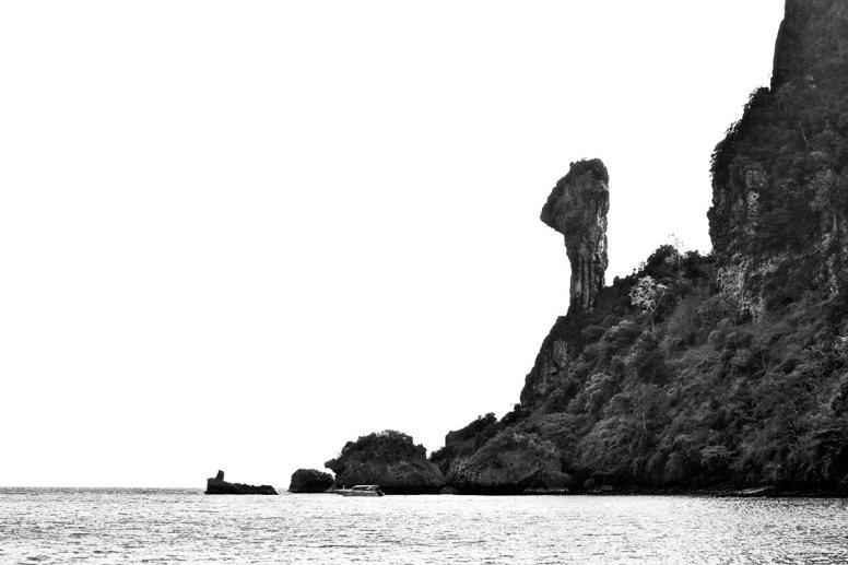 Panorámica Chicken Island Krabi blanco y negro