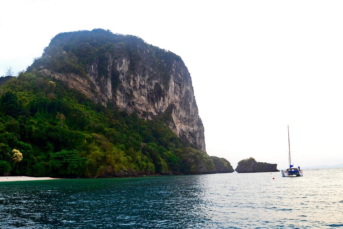 Montaña bosque flora fauna velero atracado playa 4 islands