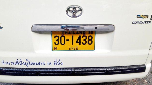 Matrícula amarilla Tailandia furgoneta Toyota
