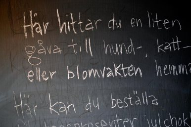 Mensaje sueco pizarra restaurante isla Suecia