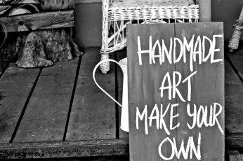Cartel arte hecho a mano hazlo tú mismo negocio tradicional Fjaderholmarna blanco y negro