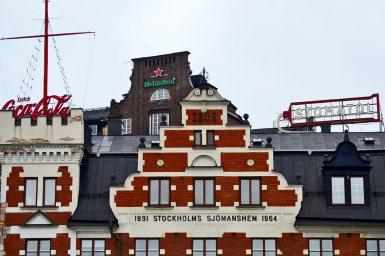 Fachadas famosas clásicas barrio Slussen Södermalm Estocolmo
