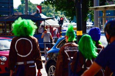 Pelos teñidos verdes punkis centro histórico Ostermalm Estocolmo