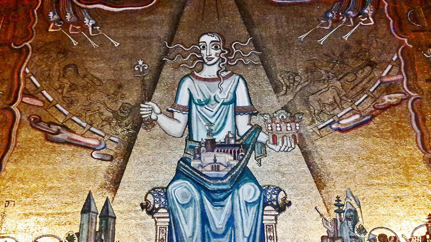 Salón Dorado mosaico Einar Forseth pan de oro reina ayuntamiento Estocolmo