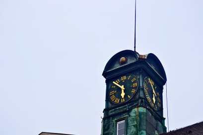 Detalle torre reloj barroco Esslingen Am Neckar Alemania