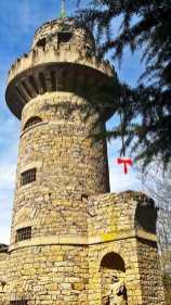 Emichsburg torre piedra trenza cuento Rapunzel Märchengarten Ludwigsburg Selva Negra