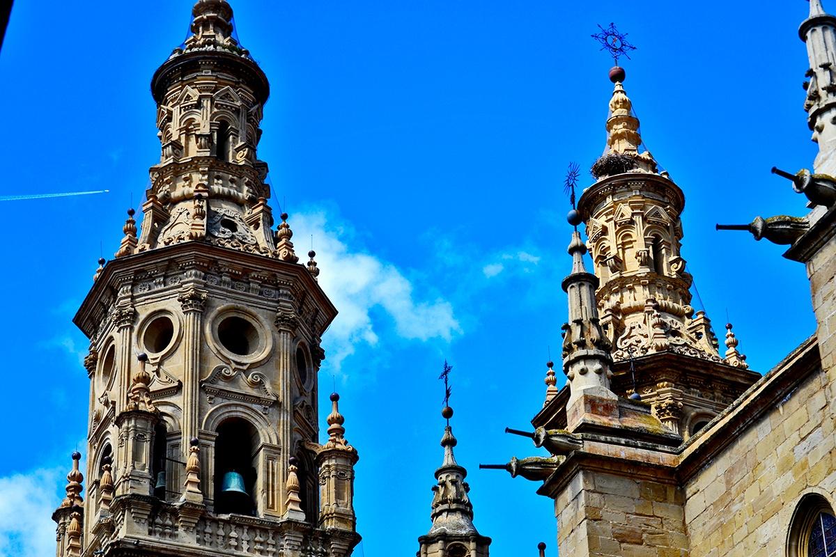 Torres pináculos cielo Concatedral La Redonda Logroño