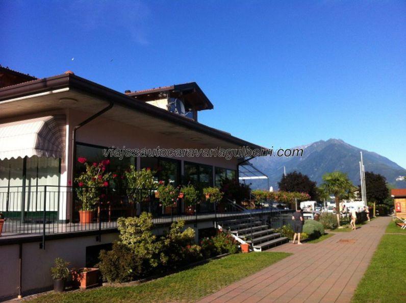 llegada al Camping Le Vele, en Domaso, a la orilla del Lago Como, con espectaculares vistas de Los Alpes