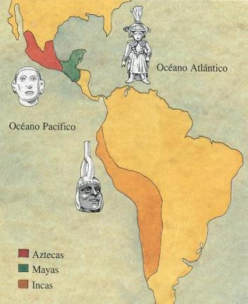 Mapa: Mayas, aztecas e incas