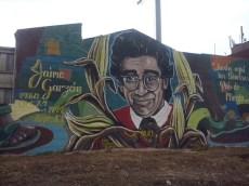 Grafiti en honor de Jaime Garzón, pionero del humor político en la televisión colombiana (un Wyoming colombiano), asesinado a sangre fría en 1999 en las calles de Bogotá cuando se dirigía a la cadena de radio donde trabajaba. (Foto: Jorge Curiel Yuste)