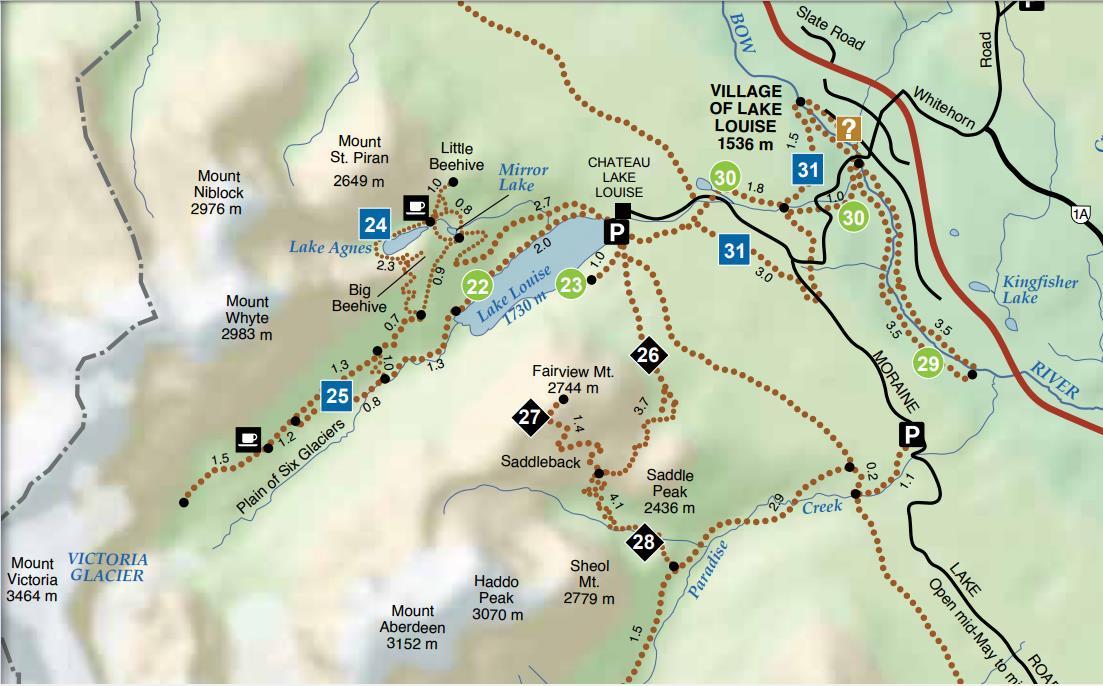Lake Louise hikking map