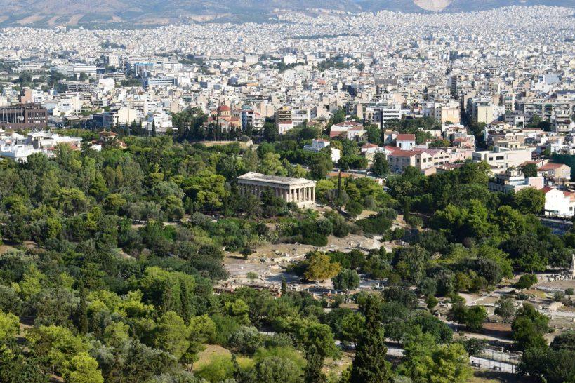 Vista del Ágora griega. Resalta el templo de Hefesto. Atenas (Grecia)