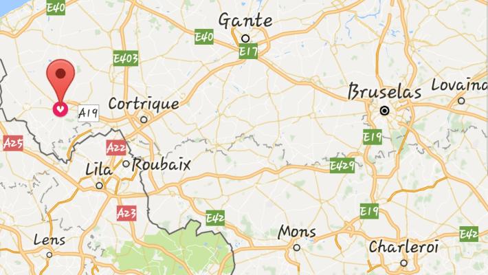 Mapa Ieper o Yprés (Bélgica)