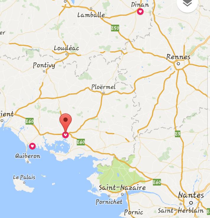 Mapa Vannes - Carnac