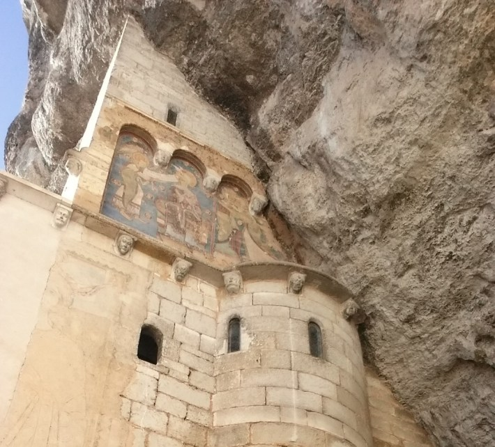 Fresco romano del siglo XII de la capilla de Saint Michel, Rocamadour (Francia)