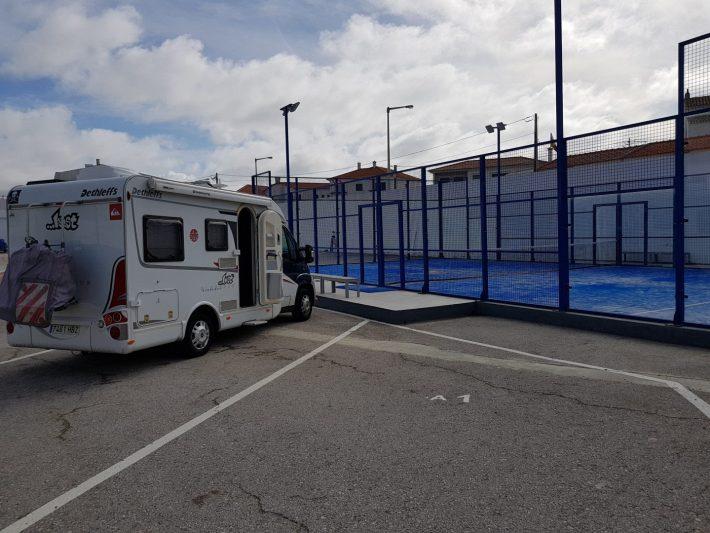 Nuestra autocaravana en el Área Camper de Peniche (Portugal)