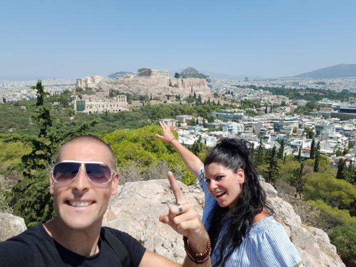 Vista de la Acrópolis desde la colina Filopapos, Atenas (Grecia)