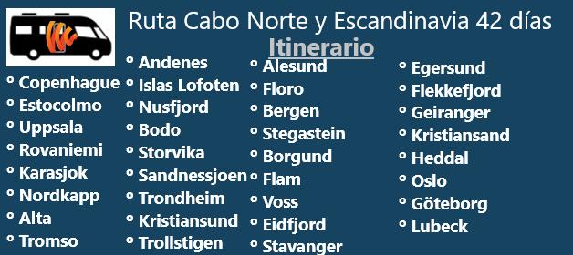 Itinerario ruta autocaravana a Cabo Norte