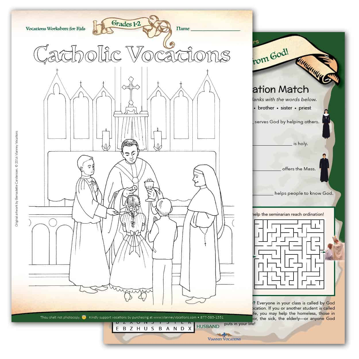 hight resolution of Vocations Worksheet for Kids - Grades 1-2 - Vianney Vocations