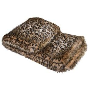 Lightweight leopard print faux fur throw