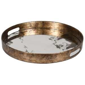 Round gold mirrored marble effect tray