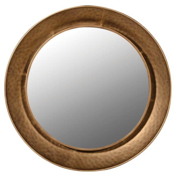Gold hammered effect round mirror