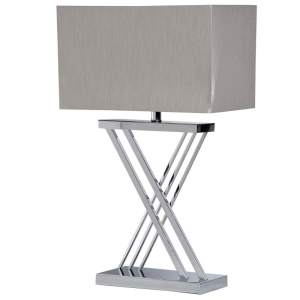 Chrome X base lamp with silver rectangular shade