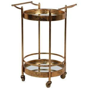 Brushed gold mirrored trolley