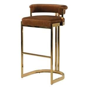 caramel deco velvet bar stool