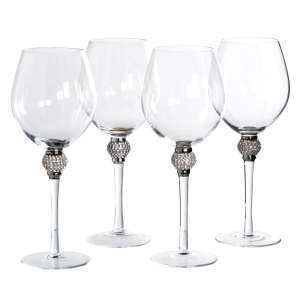 Silver diamanté ball crystal red wine glasses (set of 4)