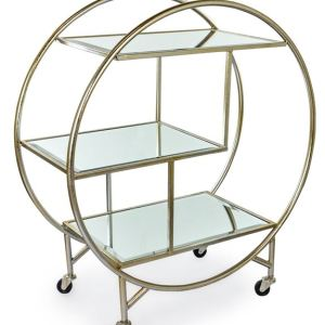 Antique silver/champagne leaf bar trolley with mirrored shelves