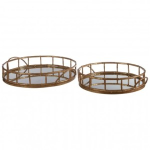 Gold antique finish iron mirrored tray