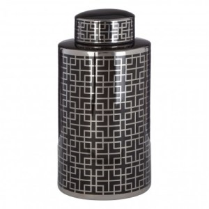 Black and silver round patterned ceramic jar (large)